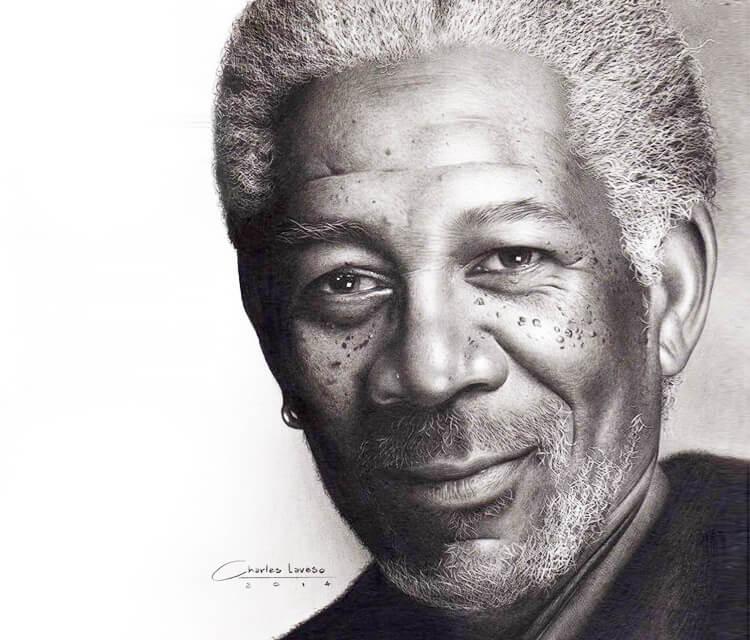 Morgan Freeman portrait drawing by Charles Laveso