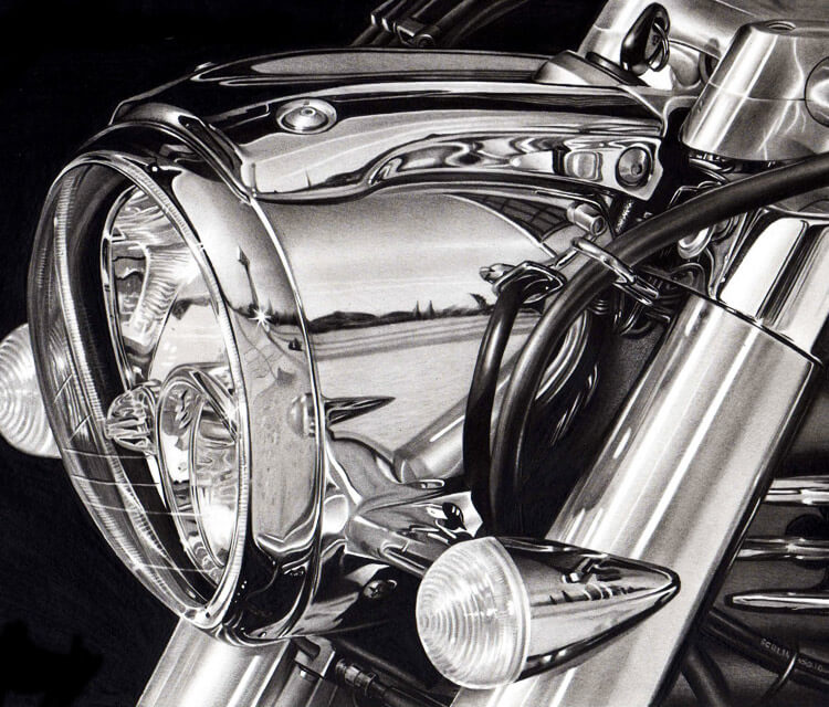 Motorcycle chrome drawing by Charles Laveso