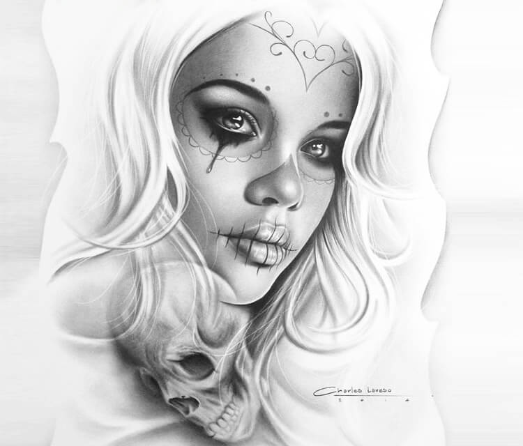 Muerte Tattoo Design Drawing By Charles Laveso No 1310