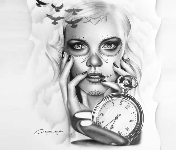 Muerte + watch tattoo design drawing by Charles Laveso