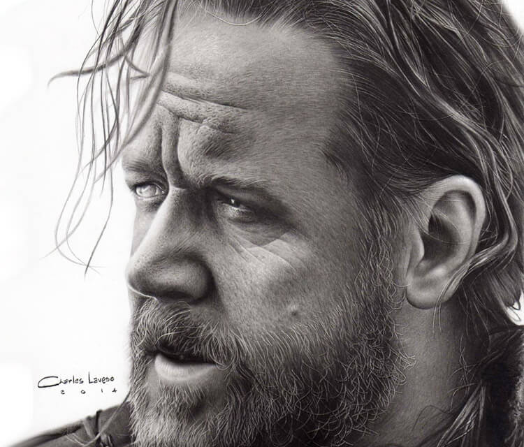 Russel Crowe potrait drawing by Charles Laveso