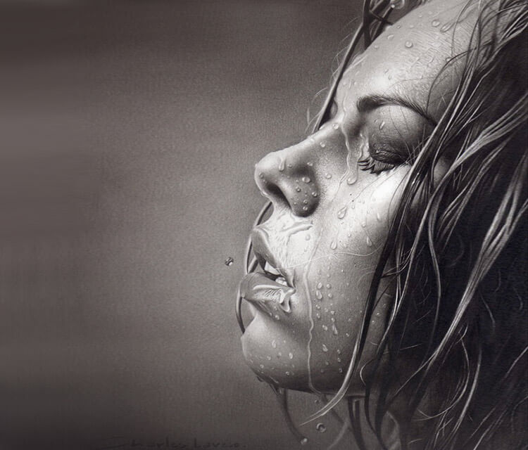 Water face drawing by Charles Laveso