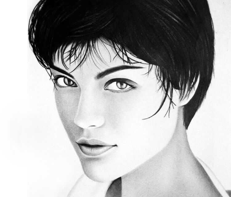 Woman portrait drawing by Charles Laveso