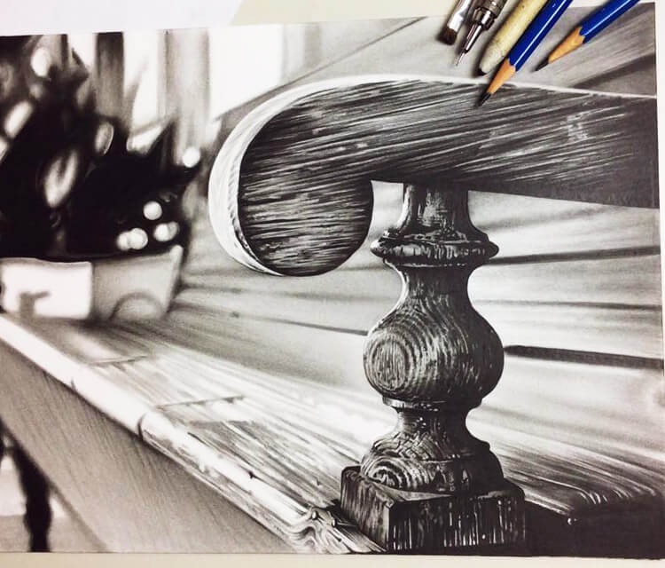 Wooden bench drawing by Charles Laveso