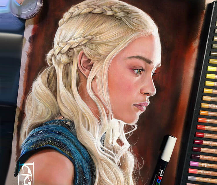 Daenerys Targaryen color drawing by Craig Deakes