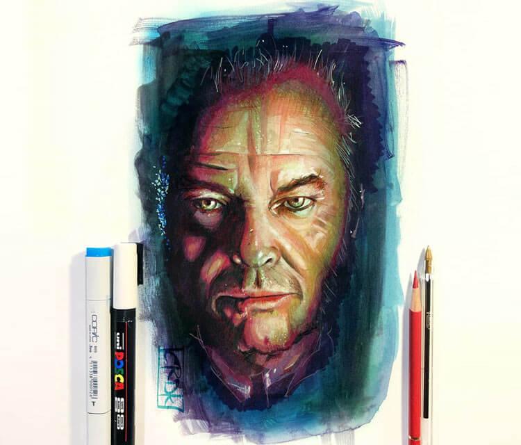 Jack Nicholson pencil drawing by Craig Deakes