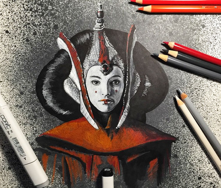 Padme drawing by Craig Deakes