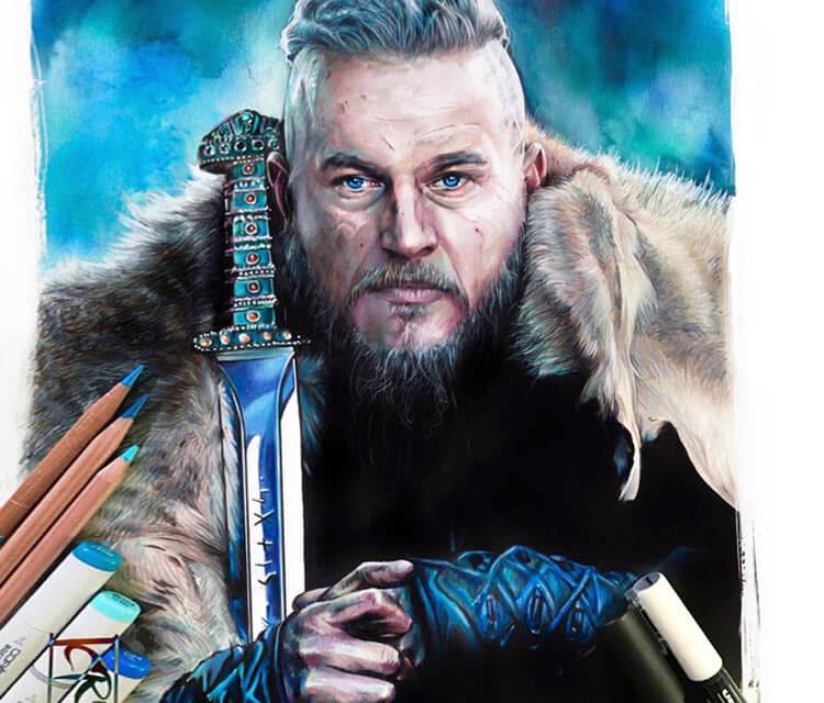 Ragnar Lothbrok pencil drawing by Craig Deakes