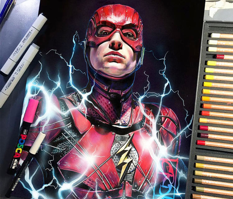 The Flash pencil drawing by Craig Deakes
