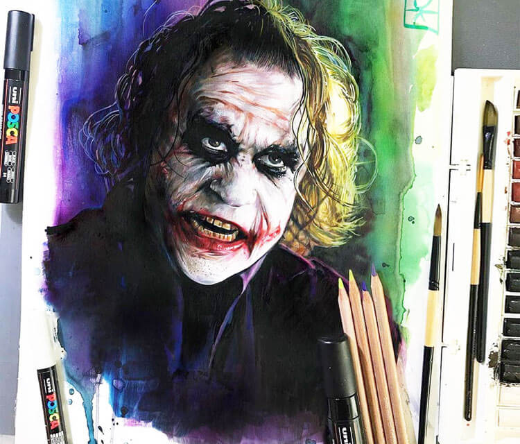 The Joker color drawing by Craig Deakes