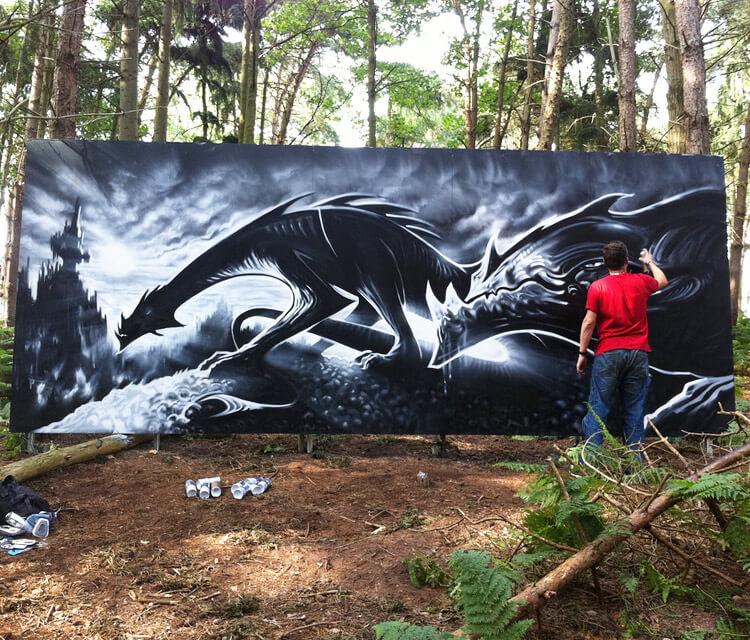 Dragon life streetart by Dan DANK Kitchener