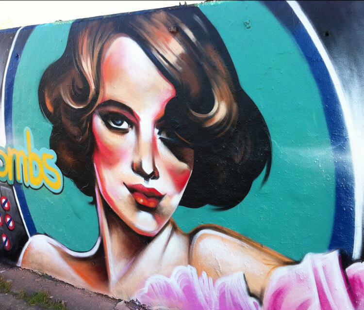 Angled pin up streetart by Dan DANK Kitchener