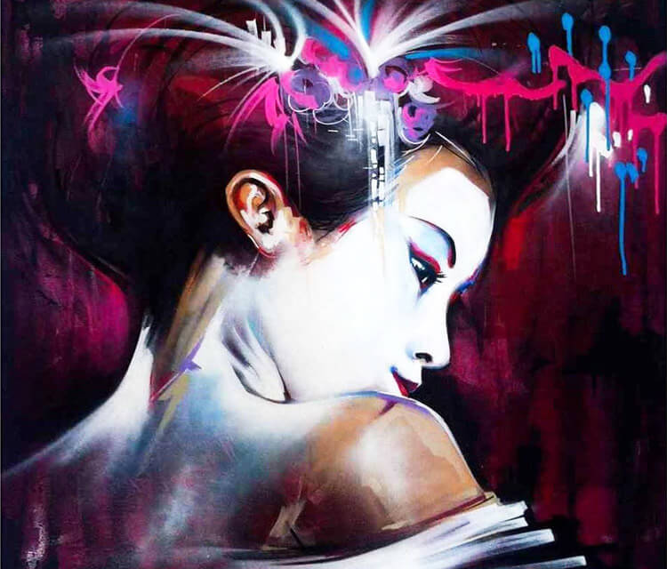 Another Geisha streetart by Dan DANK Kitchener