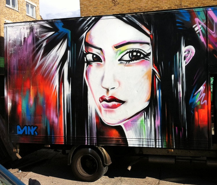 Brick Lane Van streetart by Dan DANK Kitchener