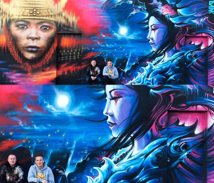 Collaborative wall streetart by Dan DANK Kitchener