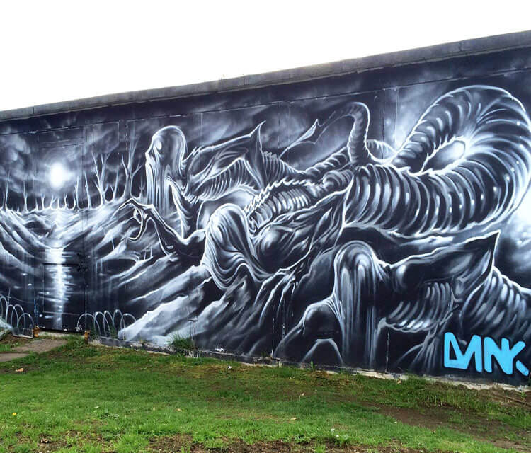 Crater moon streetart by Dan DANK Kitchener