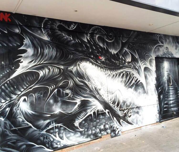 Dragons Den streetart by Dan DANK Kitchener