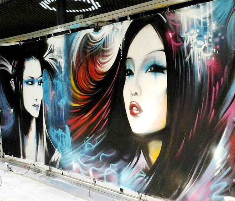 Geisha on wall streetart by Dan DANK Kitchener