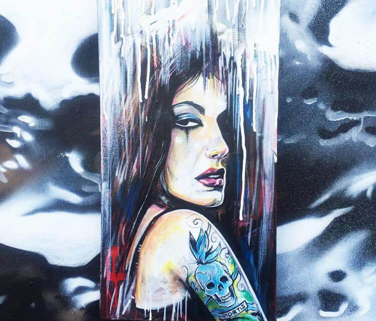 Inked Girl mixedmedia by Dan DANK Kitchener