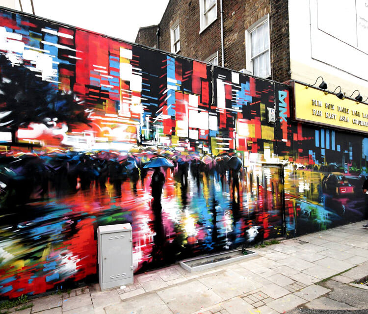 Liquid Light and Tokyo Rush streetart by Dan DANK Kitchener