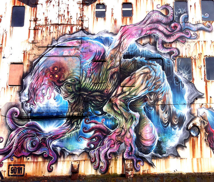 Opening A Can Of Worms streetart by Dan DANK Kitchener