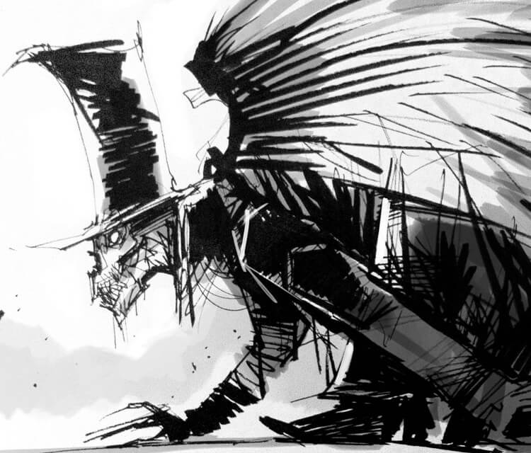 Sketchbook creature marker drawing by Dan DANK Kitchener