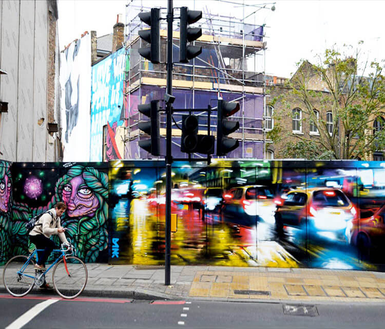 Street in east London streetart by Dan DANK Kitchener