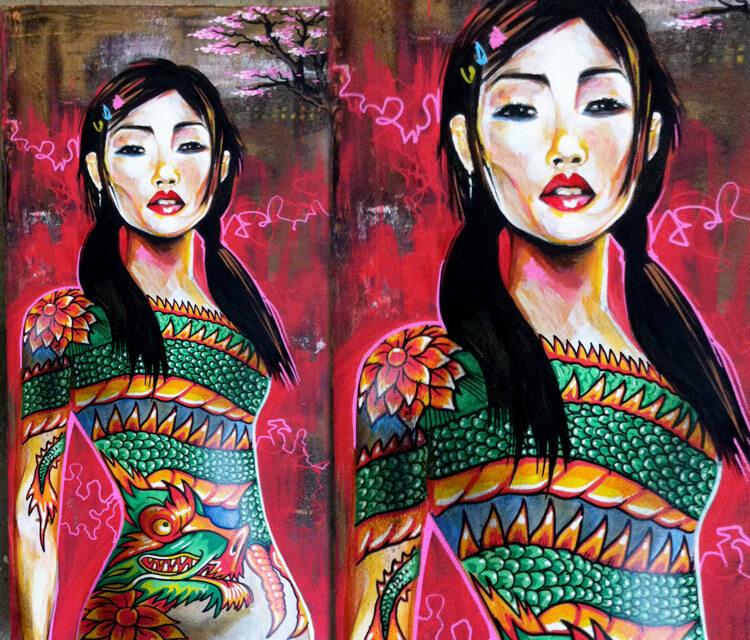 tattoo girl mixedmedia by Dan DANK Kitchener