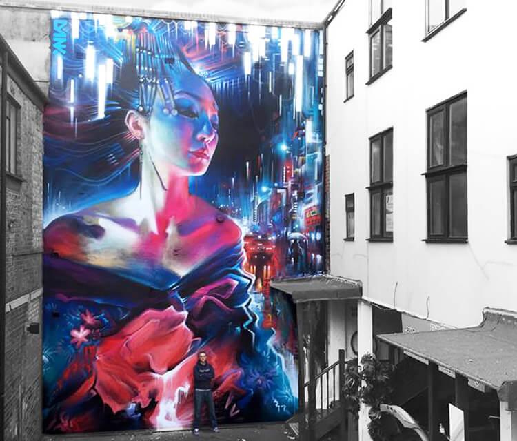 The Queen Of Neon streetart by Dan DANK Kitchener