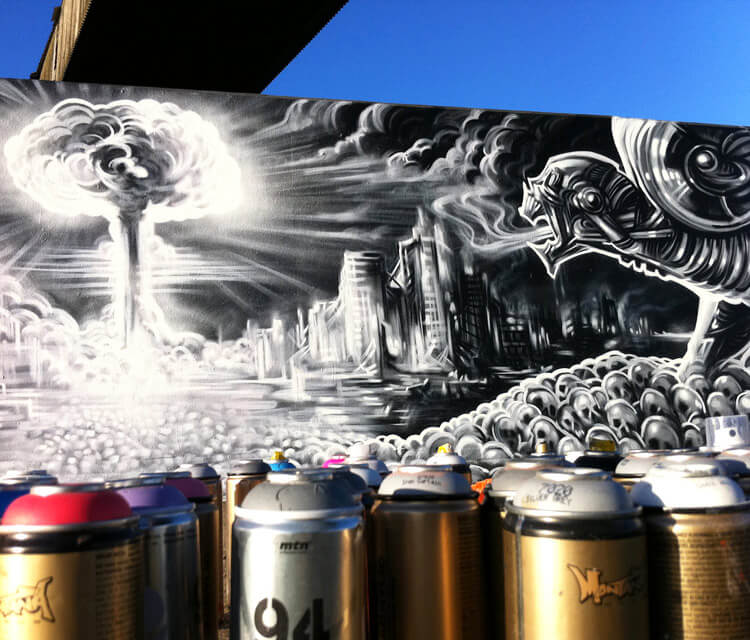 Tools of destruction streetart by Dan DANK Kitchener