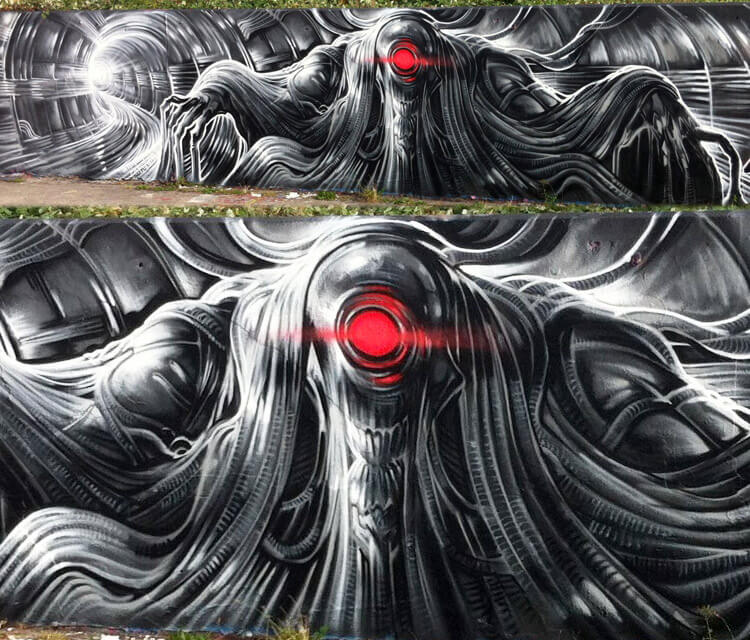 Tube creature streetart by Dan DANK Kitchener