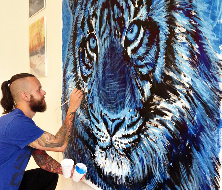 Blue Tiger In Progress painting by Dino Tomic
