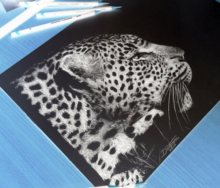 Cheetah inverted drawing by Dino Tomic