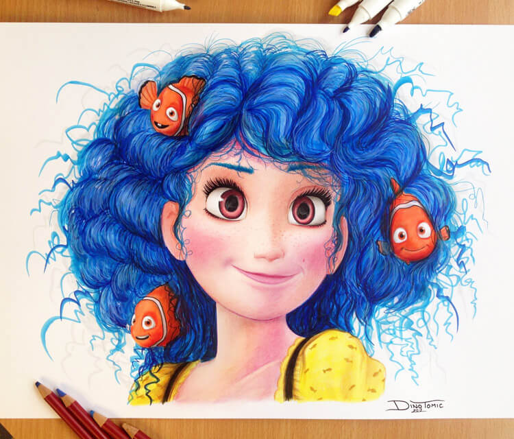 Dory from Finding Nemo color drawing by Dino Tomic