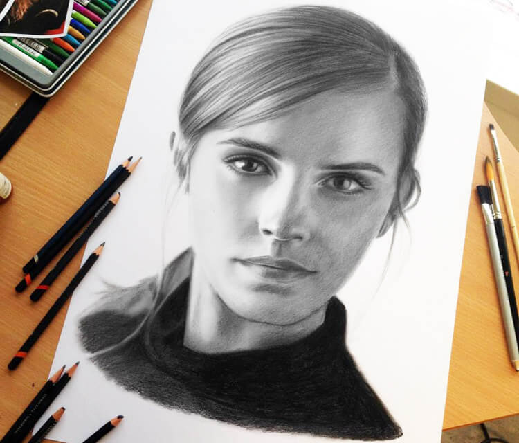 Portrait of Emma Watson drawing by Dino Tomic