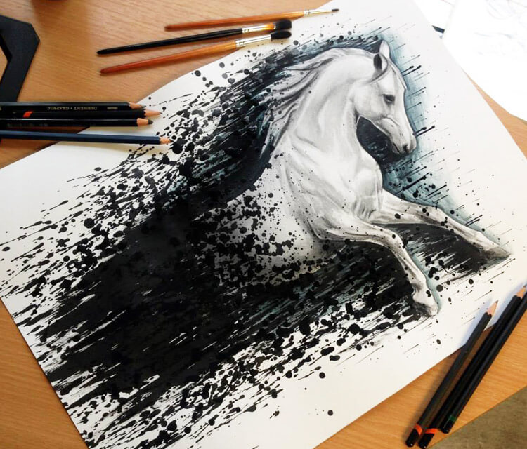 Horse splatter drawing by Dino Tomic