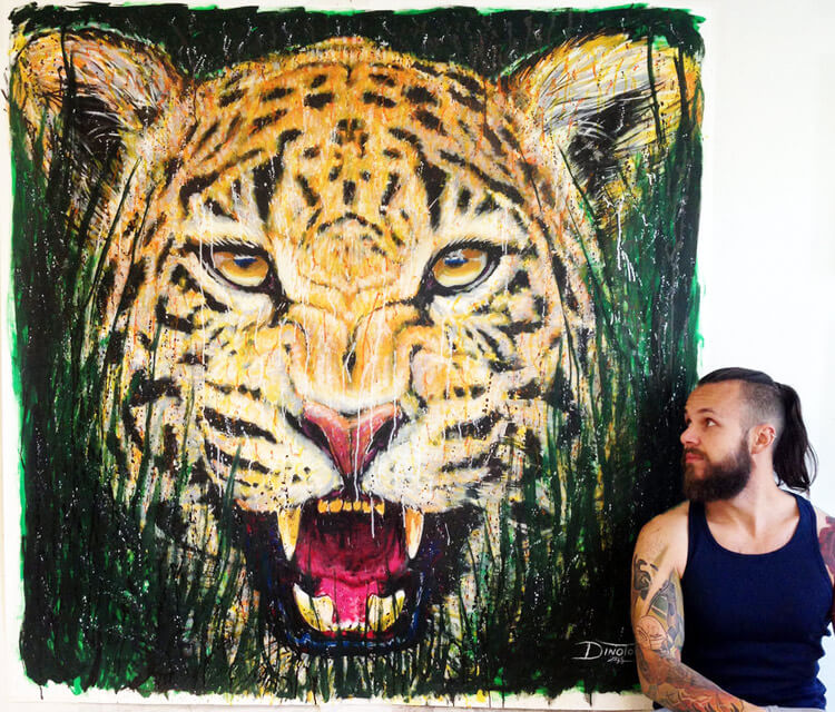 Jaguar splatter painting by Dino Tomic