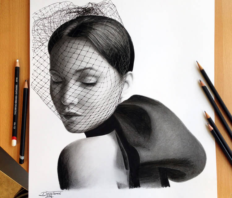 Jennifer Lawrence drawing by Dino Tomic