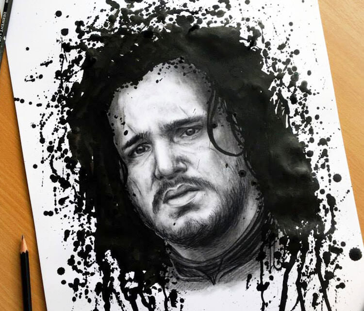 Jon Snow splatter drawing by Dino Tomic