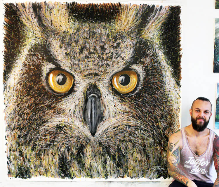 Large Owl Splatter painting by Dino Tomic