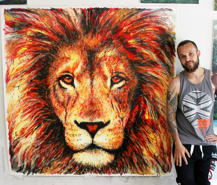 Lion Splatter painting by Dino Tomic