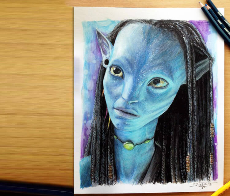 Neytiri portrait drawing by Dino Tomic