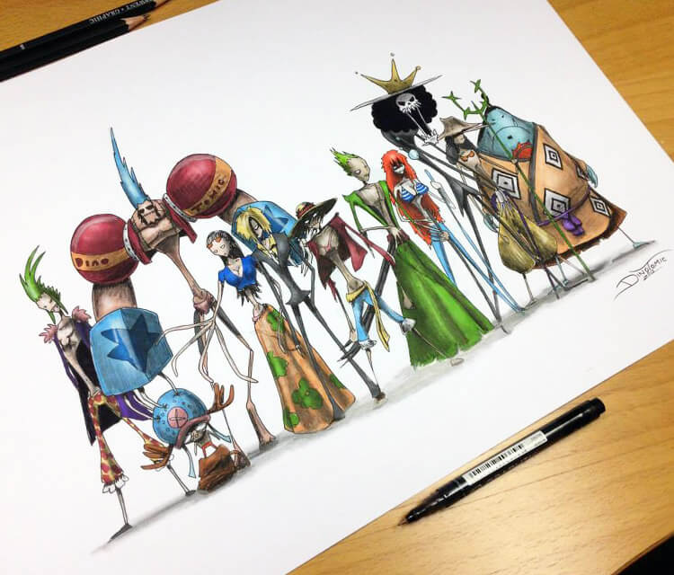 One Piece Creepy pen drawing by Dino Tomic