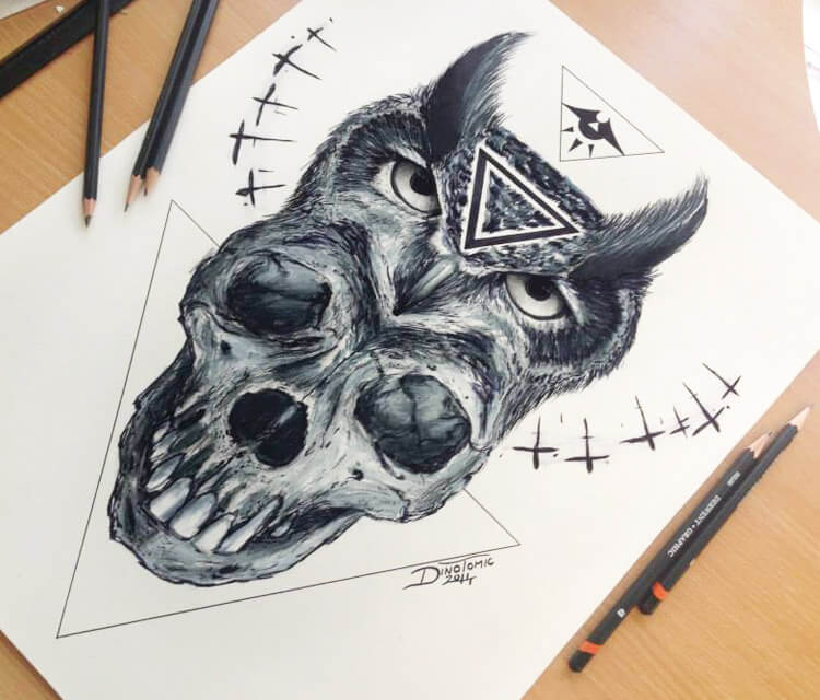 Skull and Owl sketch by Dino Tomic