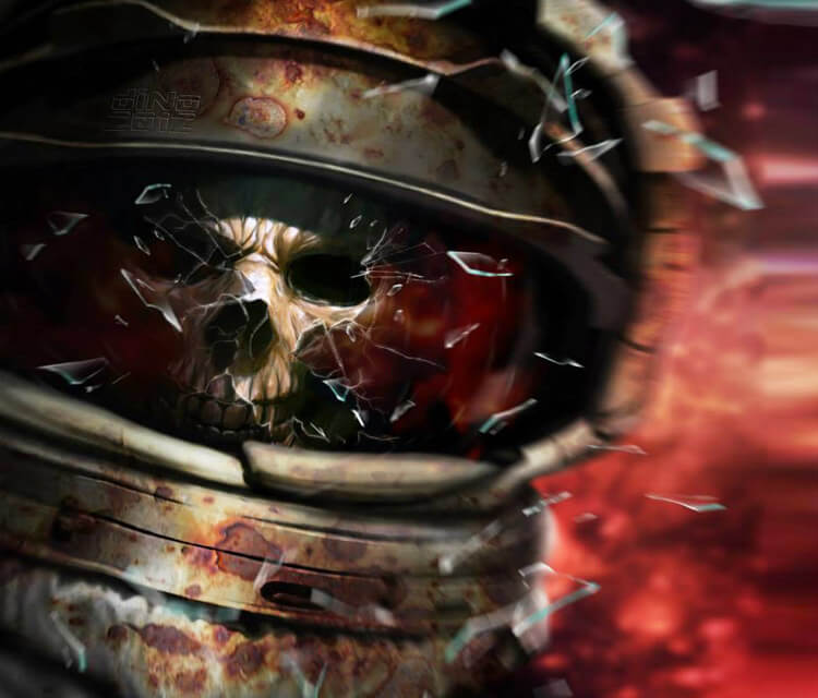 Skull in Space digital art by Dino Tomic