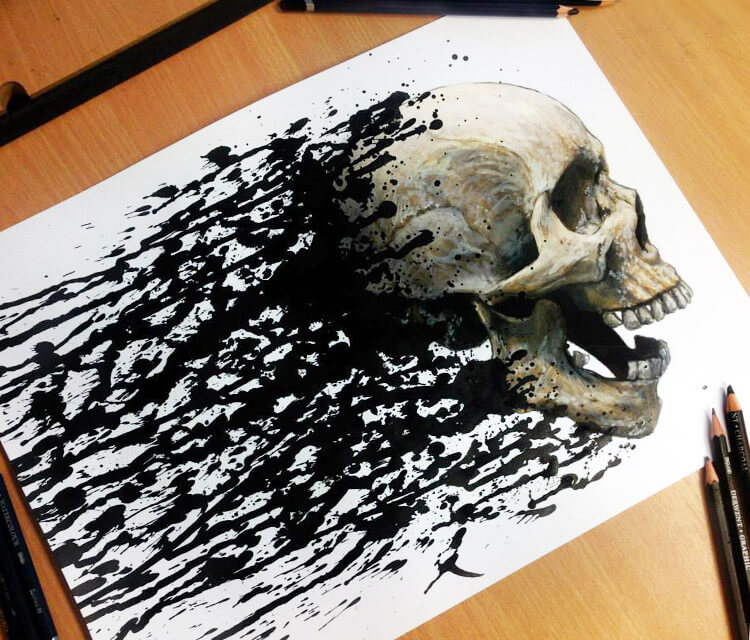 Skull Splatter drawing by Dino Tomic