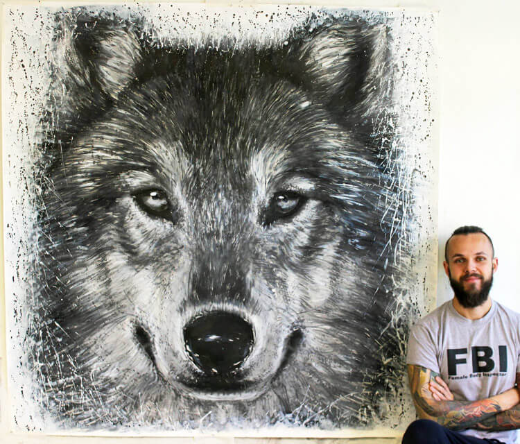 Splatter Wolf painting by Dino Tomic