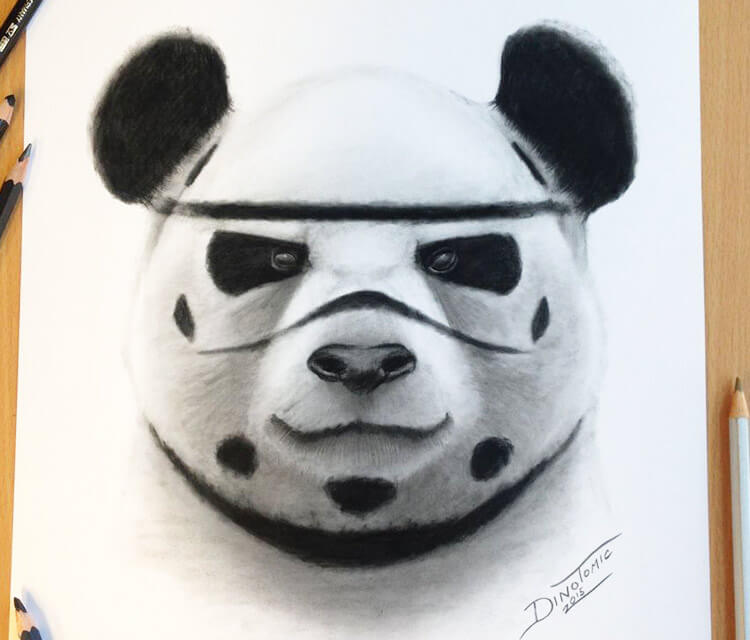 Stormtrooper Panda drawing by Dino Tomic