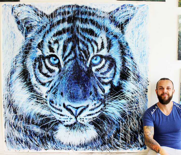 Tiger Splatter painting by Dino Tomic