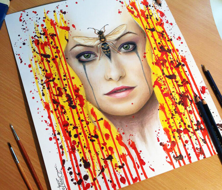 Wild face drawing by Dino Tomic